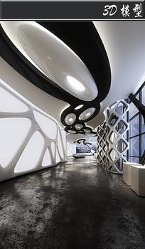 黑白网格工业风博物馆3D模型