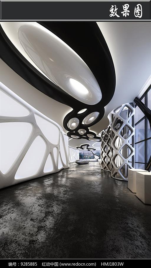 黑白网格工业风博物馆效果图图片