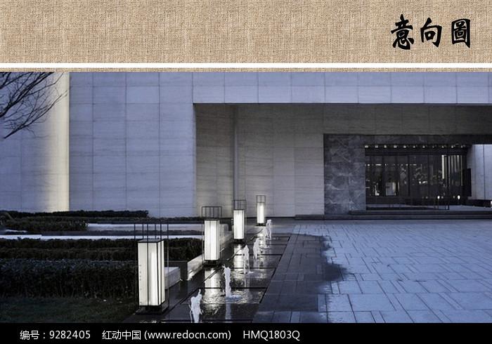 建筑入口水景图片