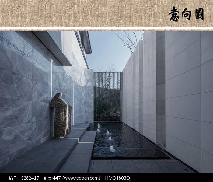 建筑庭院水景意向图 图片