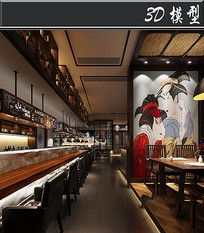 日式餐厅艺伎元素3D模型