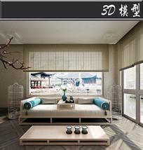 日式淡雅风客厅3D模型