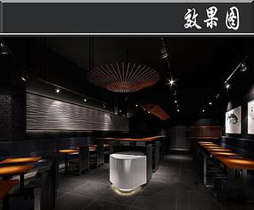日式料理木条主题餐厅效果图