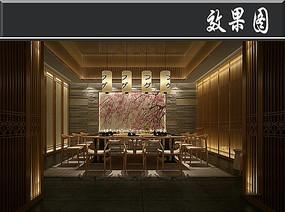 日式樱花元素餐厅包厢效果图