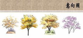 色叶植物立面