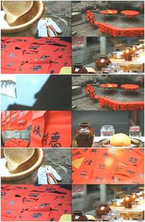 少数民族春节贴春联喜庆视频