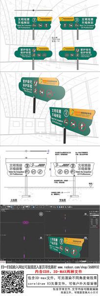 体育馆草地温馨提示牌爱护环境