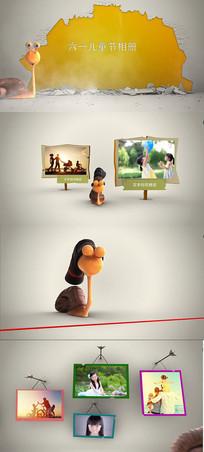 蜗牛卡通儿童相册AE模版