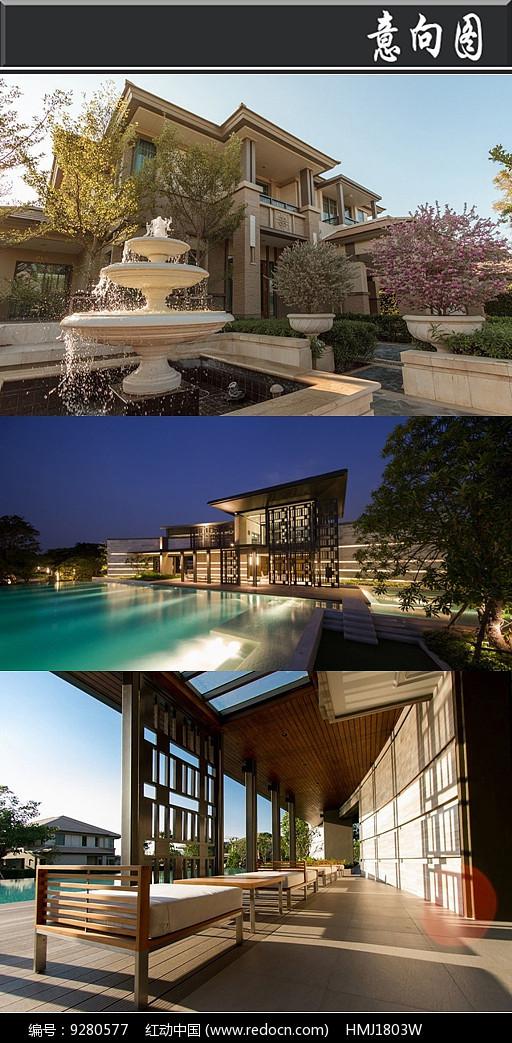 现代别墅区庭院意向图图片