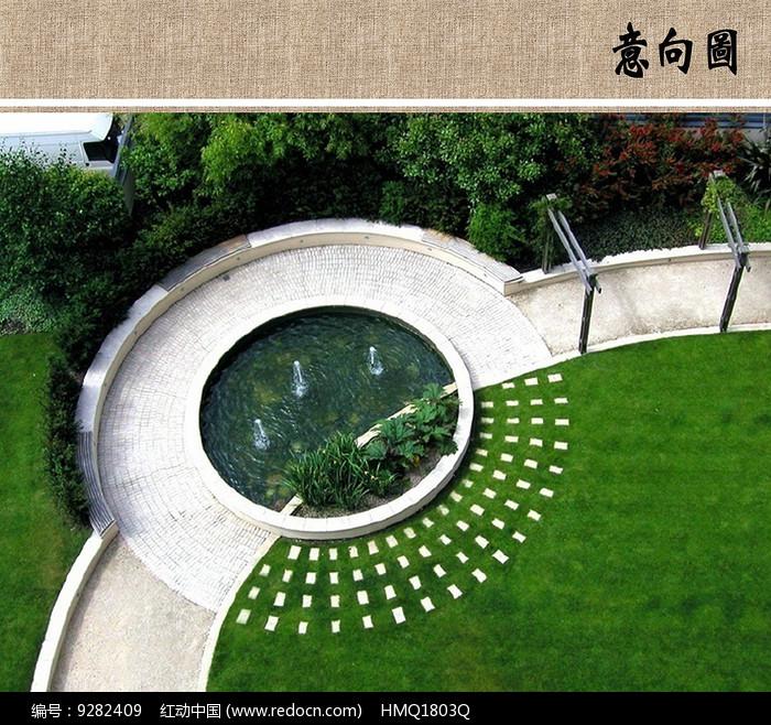 圆形水景意向图图片