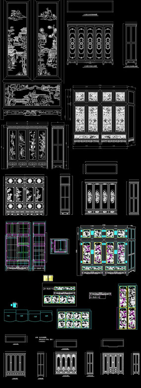 CAD中式雕花衣柜