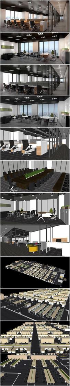 办公室建筑方案SU模型效果图