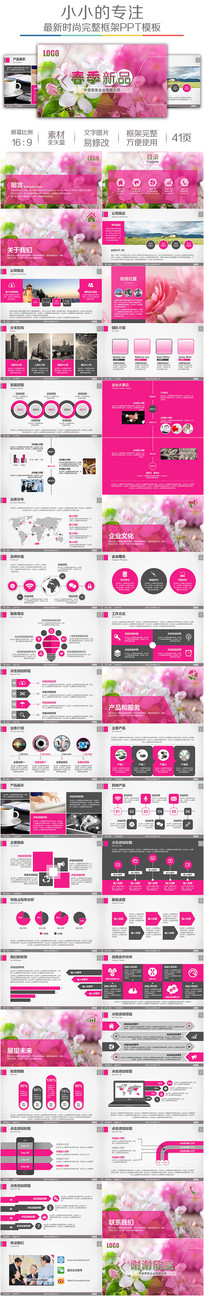 春季粉色新品上市品牌发布PPT模板