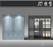 淡蓝色欧式衣柜3D模型