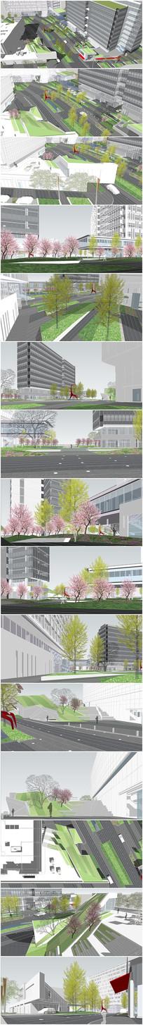 精品办公区广场景观设计su模型