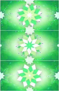 绿色万花筒剪纸纸花绽放视频