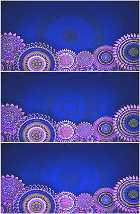 民族图腾花纹旋转蓝色背景视频