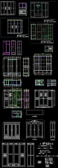 欧式实木衣柜CAD图集 dwg