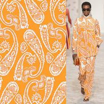 矢量印花衣服面料橙白花纹