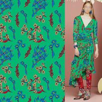 矢量印花衣服面料绿红花纹