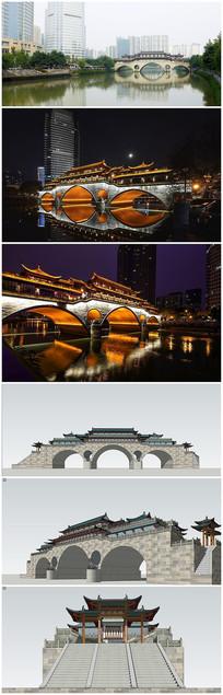 中式景观廊桥SU模型及效果图