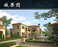 别墅住宅区绿化景观设计PSD