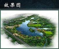 滨水公园绿化景观效果分层PSD