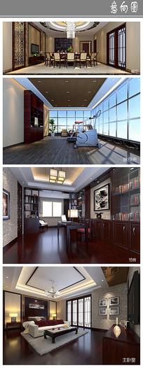 大气古朴住宅室内设计 JPG
