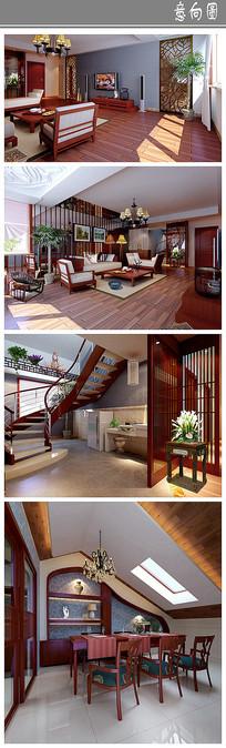 古朴木制住宅室内设计 JPG
