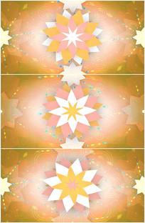 金色枫叶立体剪纸花朵绽放视频
