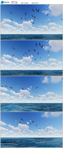 蓝色白云海洋上空飞翔海殴视频素材
