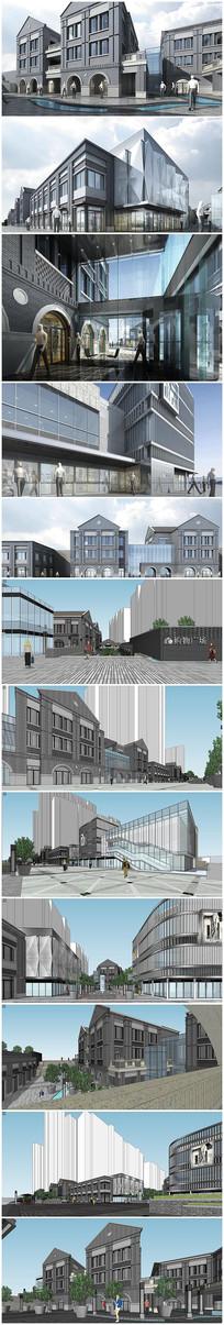 民国风步行街区模型及效果图