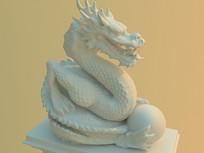 盘踞的龙3D模型 max