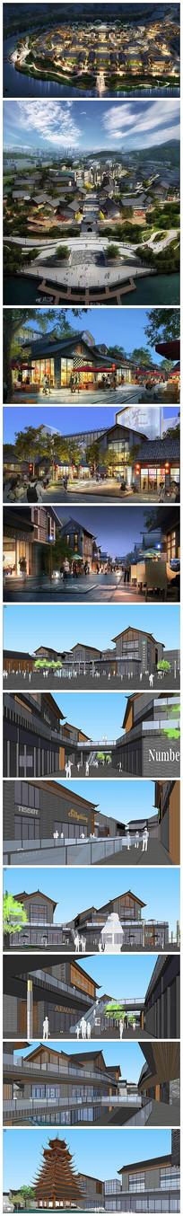 新中式步行街区建筑景观效果图