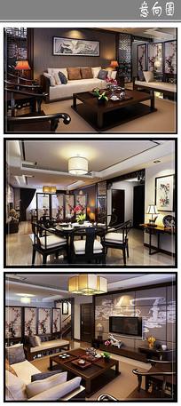 中式文雅风格室内意向
