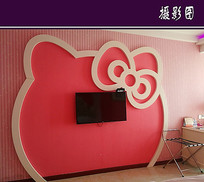 KT猫电视机背景墙