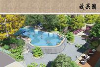 别墅住宅区泳池景观鸟瞰图