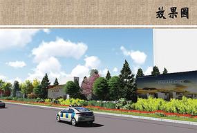 道路景观绿化效果图