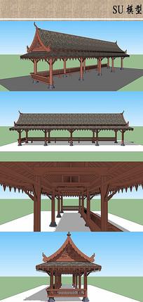 公园休息长廊的SKP模型亭子