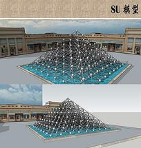 金字塔结构水景小品模型