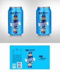 蓝色可爱易拉罐饮料包装