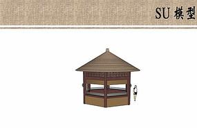 茅草售卖亭设计su模型