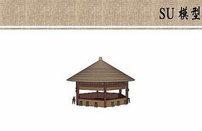 茅草售卖亭su模型