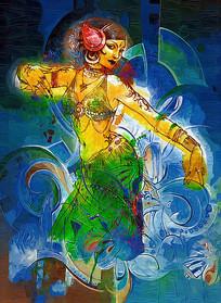 桑巴少女油画