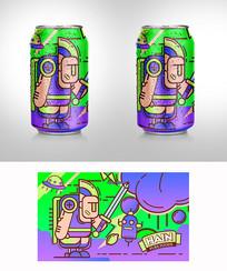 手绘创意易拉罐饮料包装 AI
