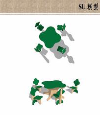 树木主题儿童桌椅SU模型