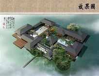 中式园林建筑鸟瞰图