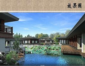 中式园林建筑效果图