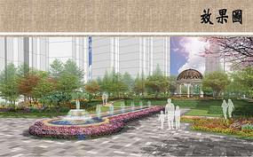 住宅区水景喷泉效果图