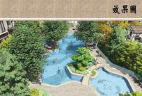 住宅区泳池鸟瞰图